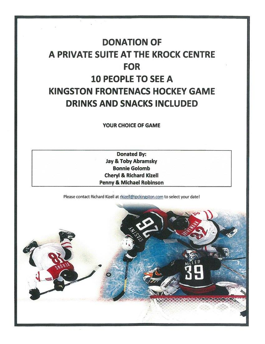 Suite For 10 to See a Kingston Frontenacs Game Donated by Jay & Toby Abramsky, Bonnie Golomb, Cheryl & Richard Kizell, Penny & Michael Robinson