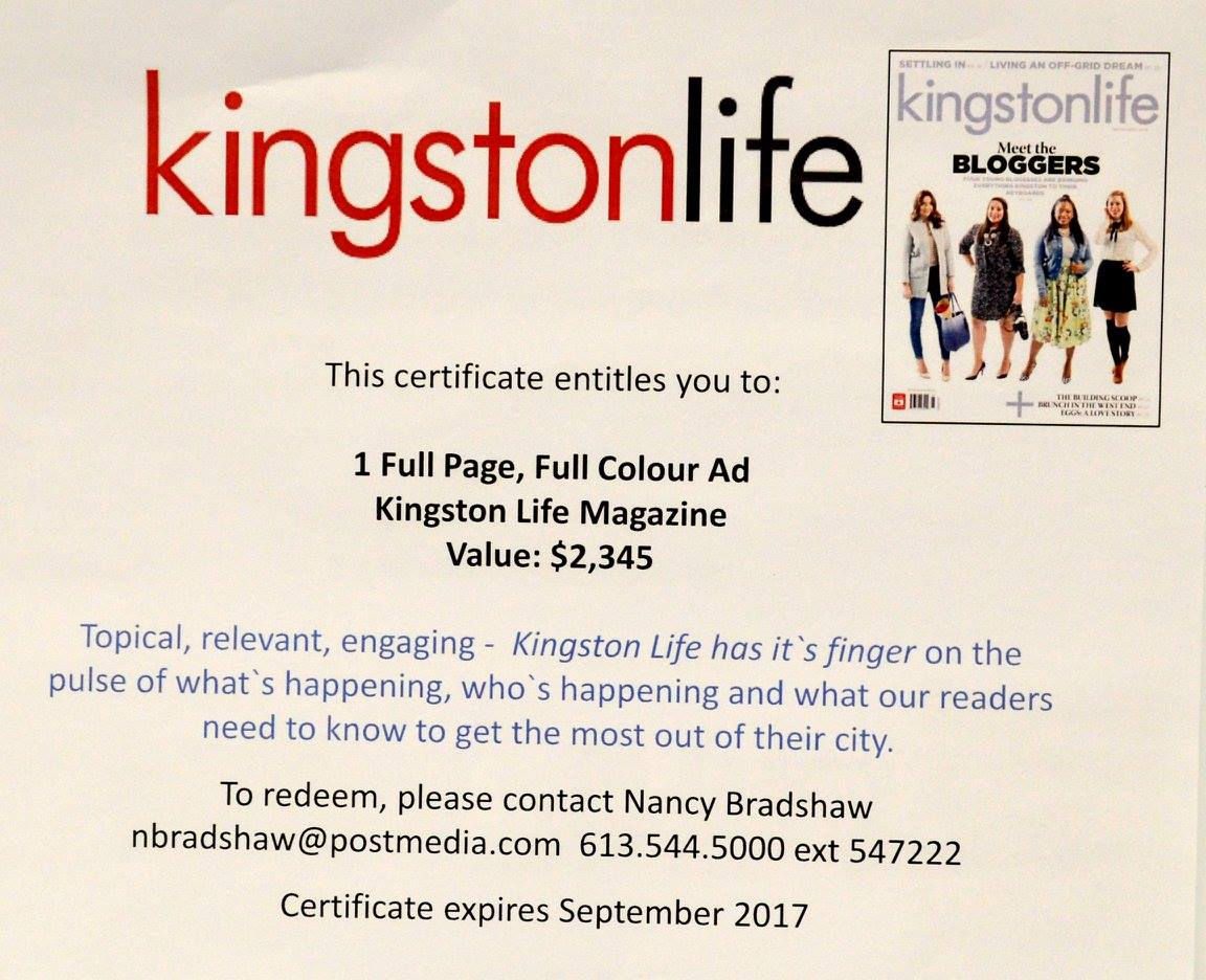 Full Page Colour Ad Donated by Kingston Life