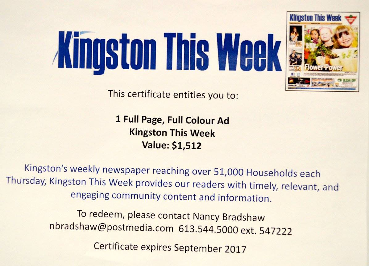 Full Page Colour Ad Donated by Kingston This Week