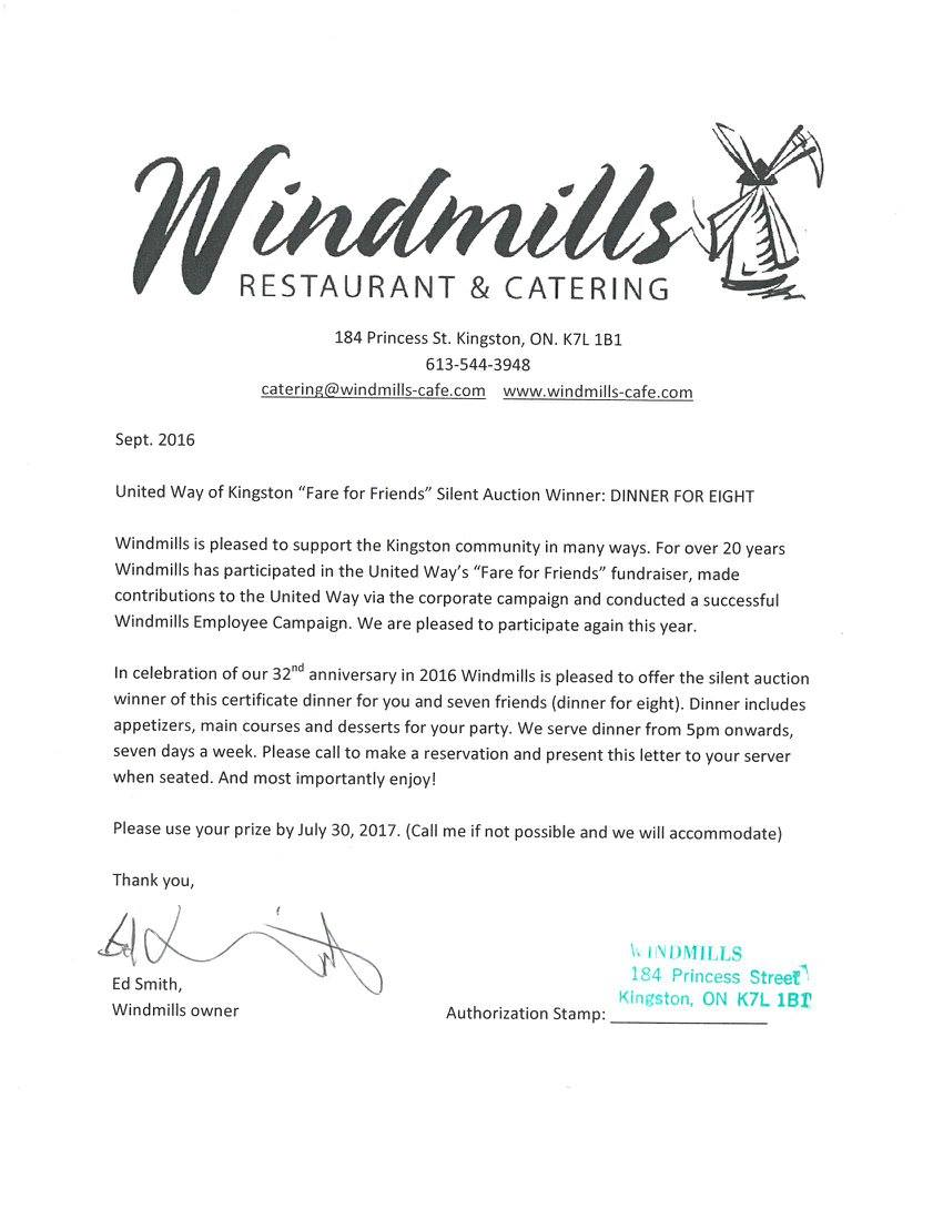 Dinner for 8 Certificate Donated by Windmills