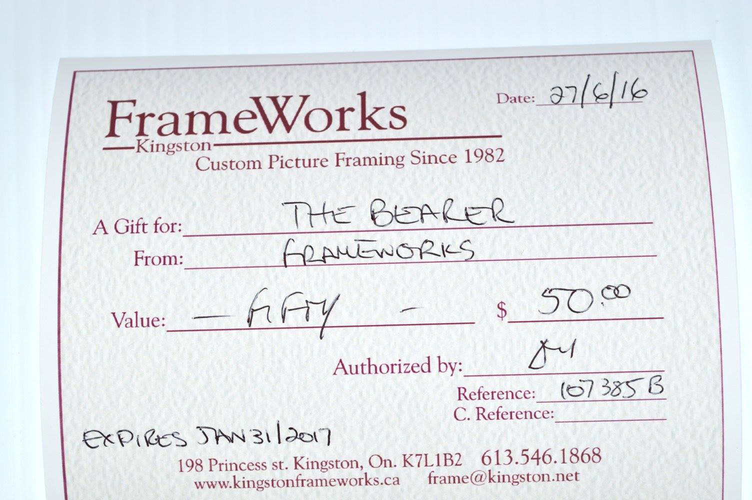 $50 Gift Certificates Donated by Frameworks