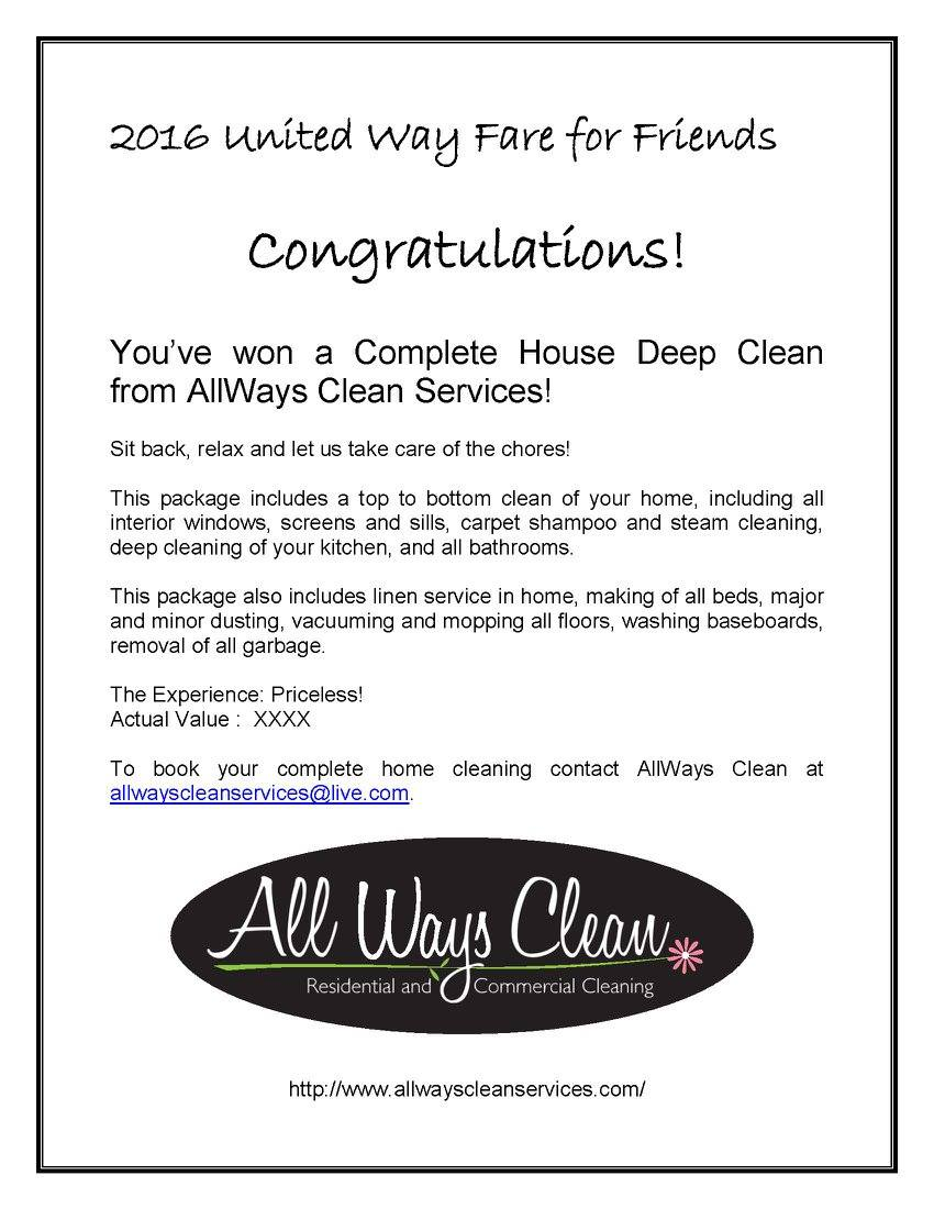 House Clean Services Donated by All Ways Clean