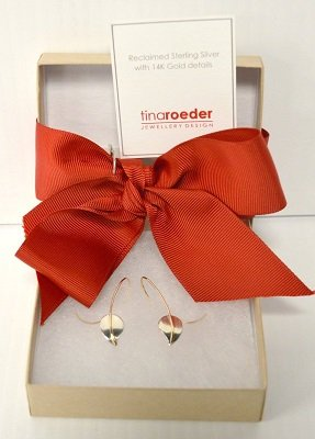 Tina Roeder Leaf Earrings- 14K Gold & Sterling Silver